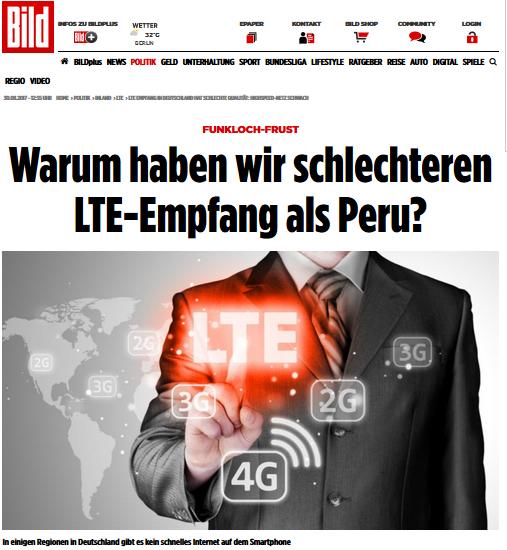 Funkloch Deutschland, LTE Empfang
